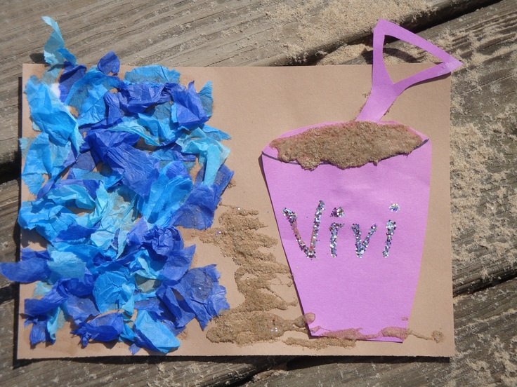 Beach Bucket Craft  (sensory - switch construction paper to sandpaper)