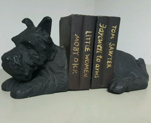 SUPER-CUTE-Cast-METAL-LAYING-DOWN-SCOTTIE-DOG-SCOTTISH-TERRIER-BOOK-ENDS