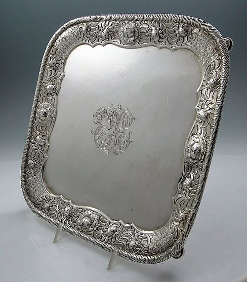 Tiffany Footed Antique Silver Salver