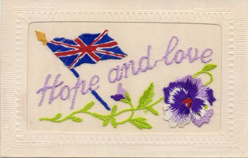 Hope and Love Embroidered Patriotic WW1 Silk Postcard | eBay
