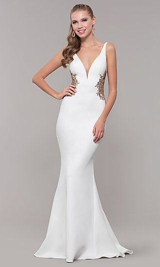 a5092204947 Long V-Neck Prom Dress with Embroidery by Faviana in 2019