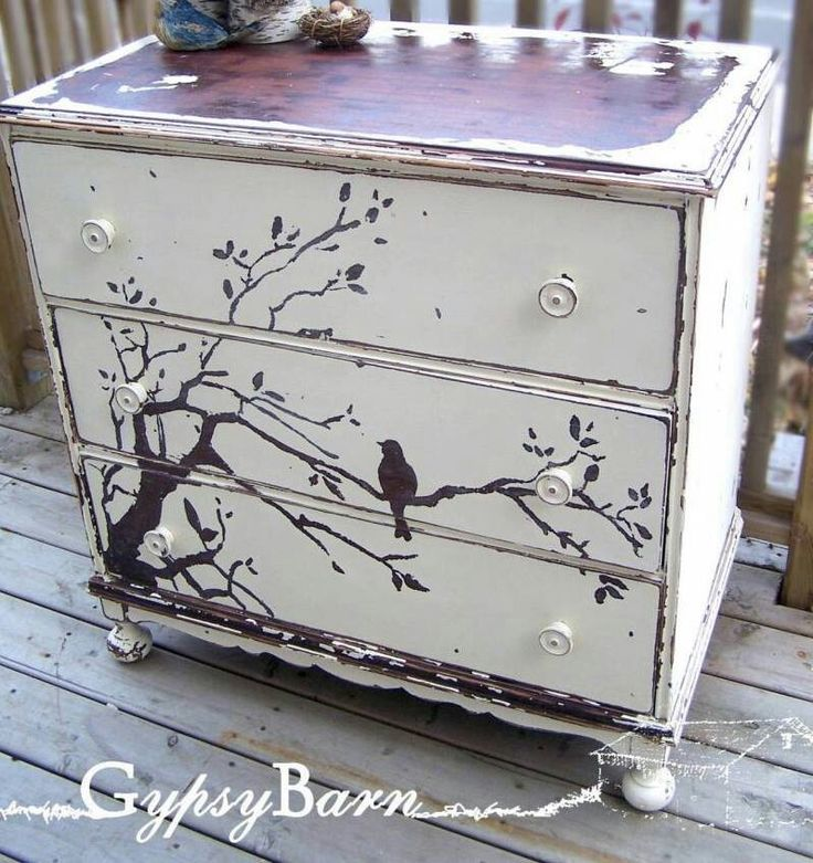 Artistically painted chest of drawers dresser with bird on tree branch, chic shabby cottage style; Upcycle, Recycle, Salvage, diy, thrift, flea, repurpose!  For vintage ideas and goods shop at Estate ReSale & ReDesign, Bonita Springs, FL