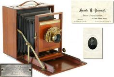 Antique Wood Camera: Rare 1883 Pearsall Compact Camera (only 3 known) shown with Frank Pearsall's 1871-72 business card and an early c.1870s tintype portrait of Frank.