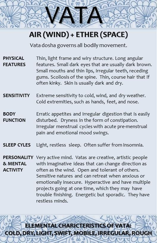 Ayurveda VATA - Learn about VATA 1 (2), see link: http://www.foodpyramid.com/ayurveda/vata-dosha/ #vata #dosha #ayurveda