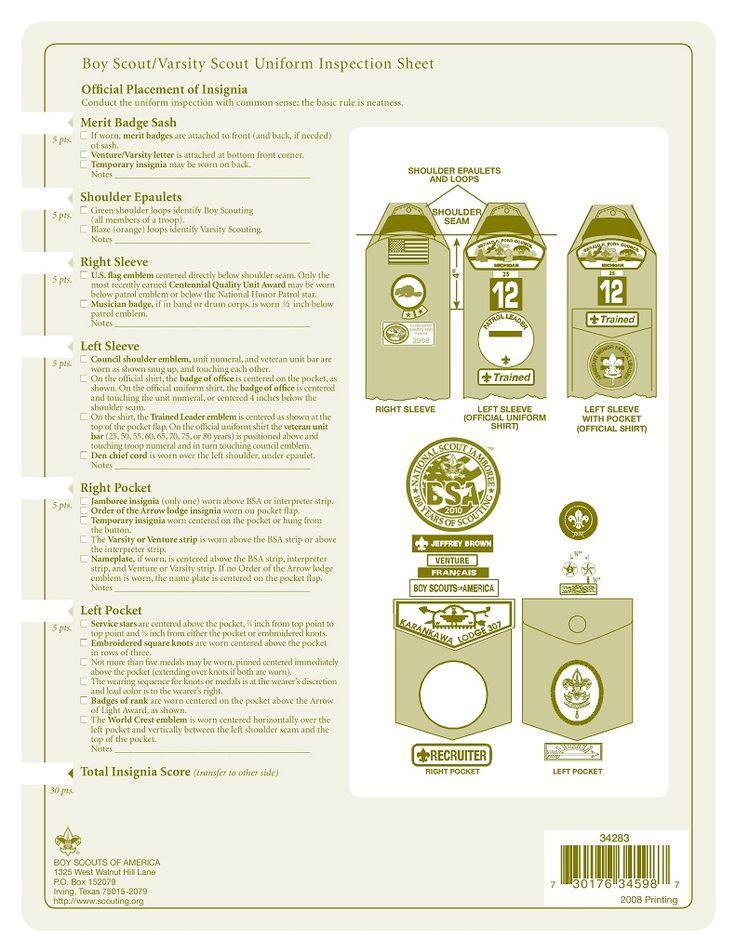 Boy Scout Uniform Inspection Sheet page 2