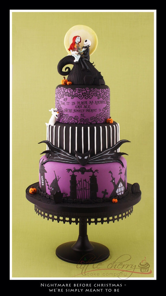 3 Tier Wedding Cake For A Halloween Wedding. Hand Painted Nightmare Before  Christmas Violin Wedding Cake.