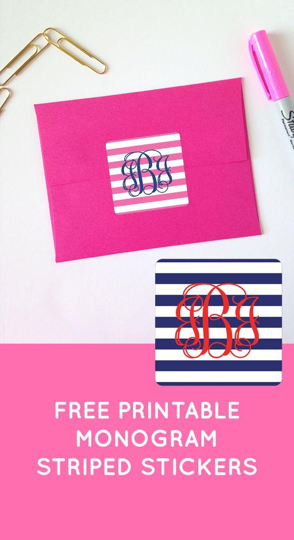 Free striped printable monogram stickers from chicfetti freeprintable free printables for Chicfetti monograms
