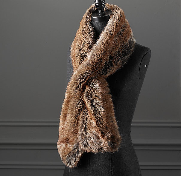 Restoration Hardware, Luxe Faux Fur Scarf, Coyote