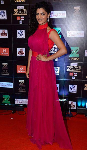 Saiyami Kher in a Karoline Lang gown & Neelam Kothari Soni earrings