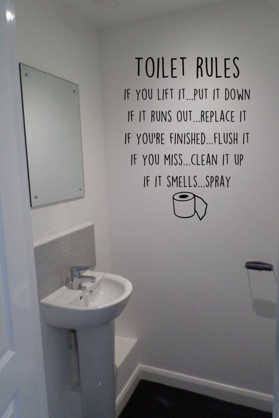 Toilet Rules Flush Spray Wash Toilet Seat Fun Humour Wall Art Vinyl Decal Sticker Toilet Rules Bathroom Quotes Decor Boys Bathroom Decor