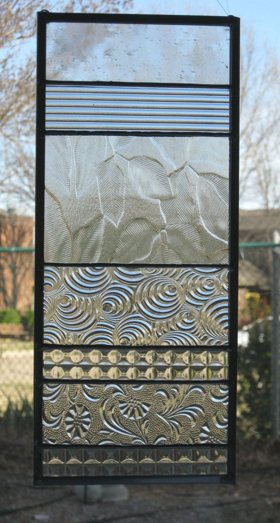 Clear Modern Stained Glass Suncatcher by Nanantz on Etsy, $43.00