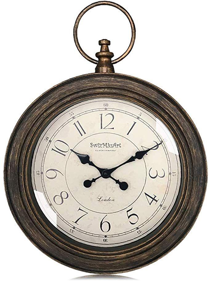 Swizmiuart Vintage Wall Clocks Battery Operated Non Ticking 24 Inch Silent Wall Clock Quartz Glass Clock Face Digital Wall Cl Large Wall Clock Wall Clock Clock