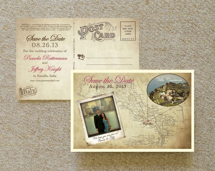 Wedding Save The Date Postcards: Vintage Map Postcard Save The Date (Italy)