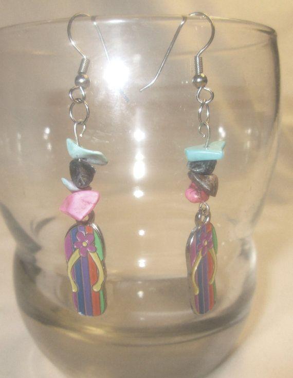 Earrings Bright Multi Color Flip Flops Flip Flop by CindyDidIt