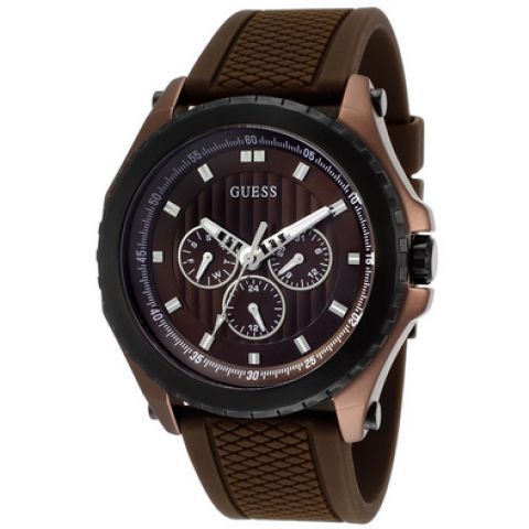 Guess W0063G5 Hipster Brown & Black With Brown Silicone Strap Watch