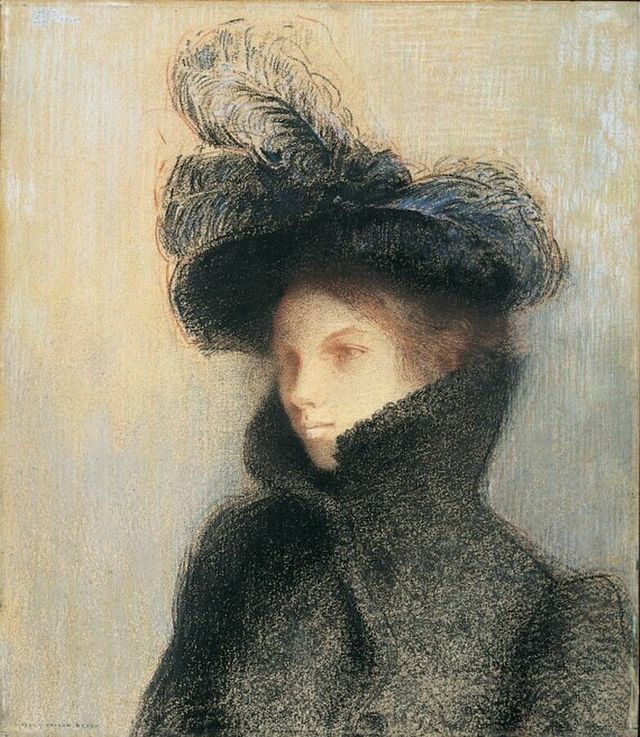 Marie Botkine au manteau d'astrakan by Odilon Redon