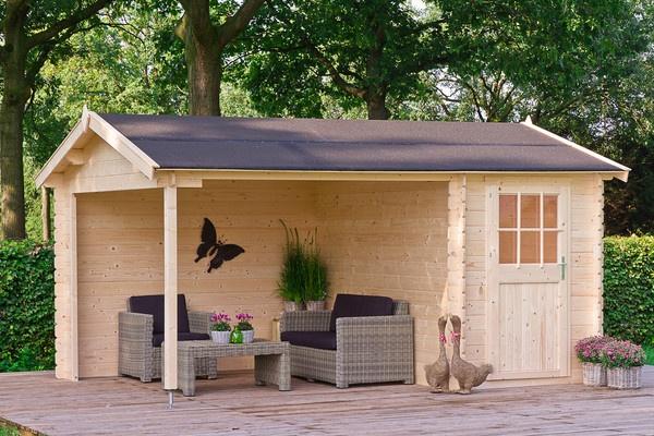 Clematis - Tuinhuizen - GAMMA Blokhutten huisje met een overkapping voor terras