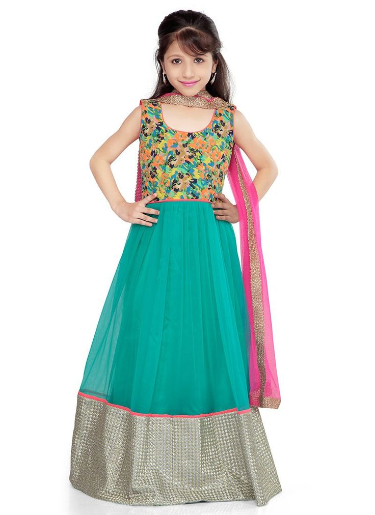 Fab Green net K and U #anarkali suit