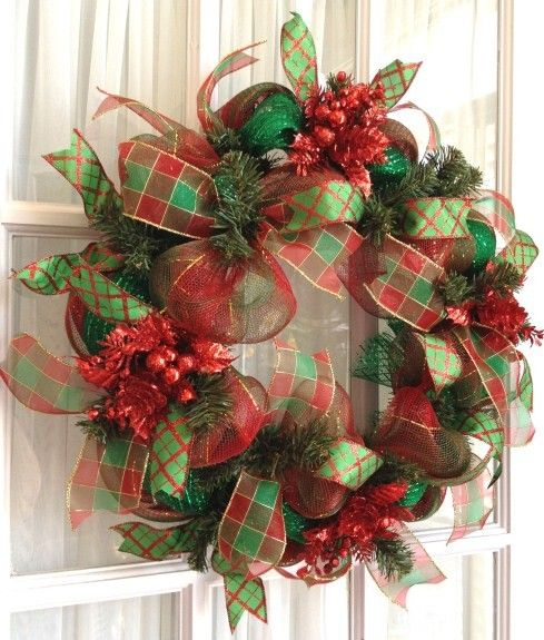 Image detail for -Holiday Ideas / Deco Mesh CHRISTMAS Slim Screen Door Wreath ...