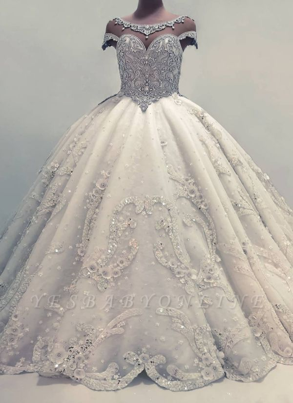 Sparkly Ball Gown Wedding Dresses Shiny Crystals Bridal Gowns With Flowers In 2020 Ball Gowns Wedding Ball Gown Wedding Dress Wedding Dresses Uk
