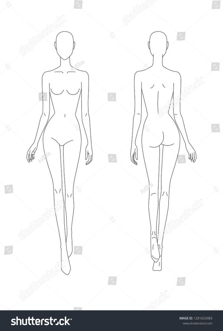 Sketch of the female body. Front and back view. Put your hands in the length of …