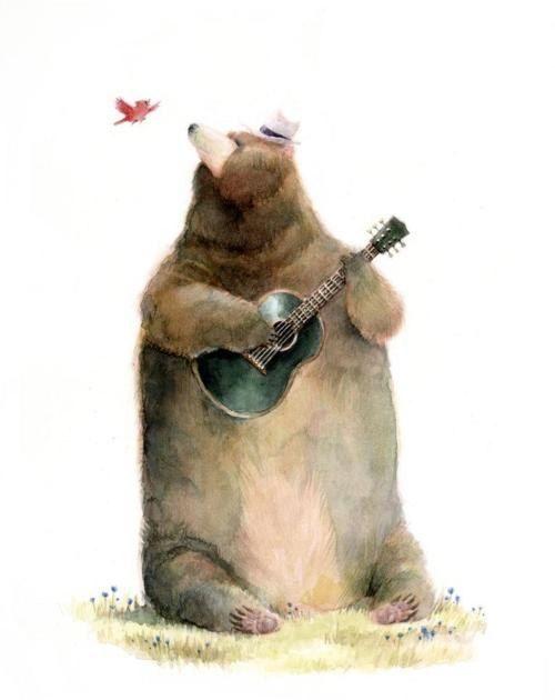 Открытки, рисунок медведь прикольный