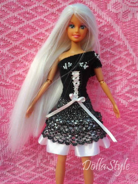 HandMade Barbie Clothes Barbie Doll Dress Black & by DollaStyle