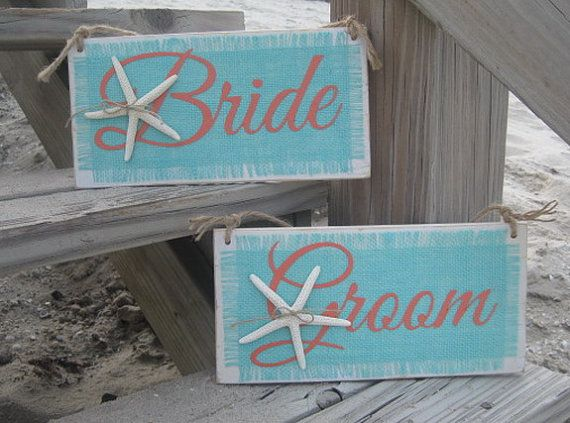 Starfish Turquoise/Coral Bride and Groom Sign by GuessWhoooDesigns, $38.00