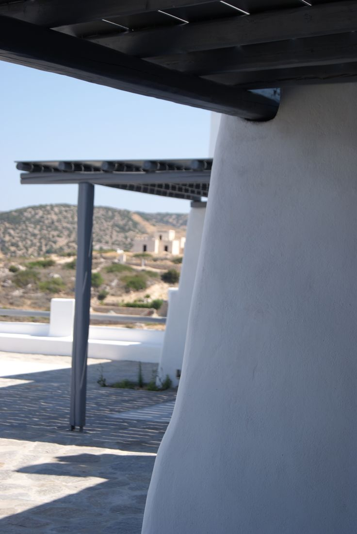 Architectural details of Cycladic residences in Paros island, Greece. Playing with the walls.