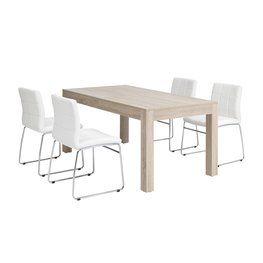 Pöytä HALSTED + 4 tuolia valk. HAMMEL
