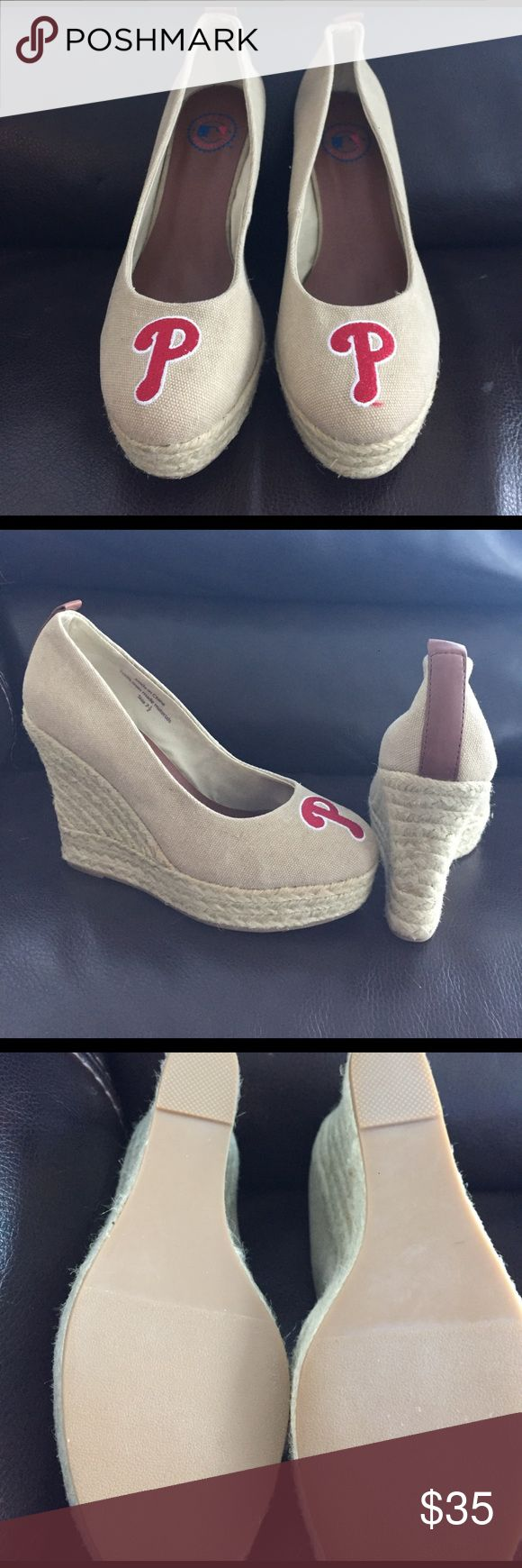 Phillies wedges Phillies Phans!! Here's a cute pair of espadrilles for your stylish summer baseball games. Never worn, brand new tags removed. No signs of wear & tear. cuce Shoes Espadrilles