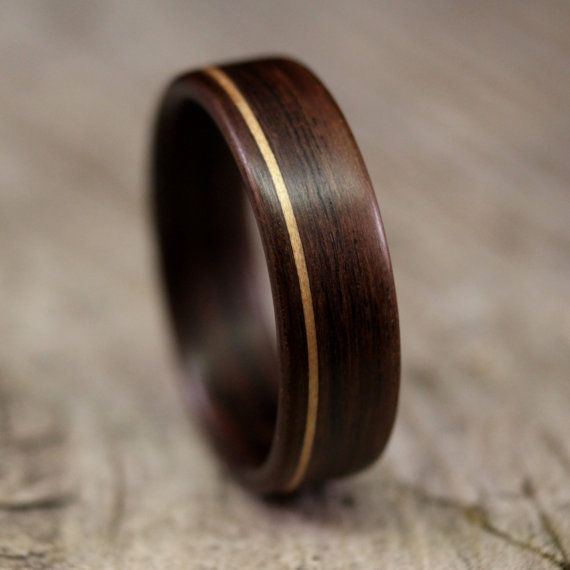 indian rosewood bentwood ring with koa inlay handcrafted wooden ring - Wood Wedding Ring