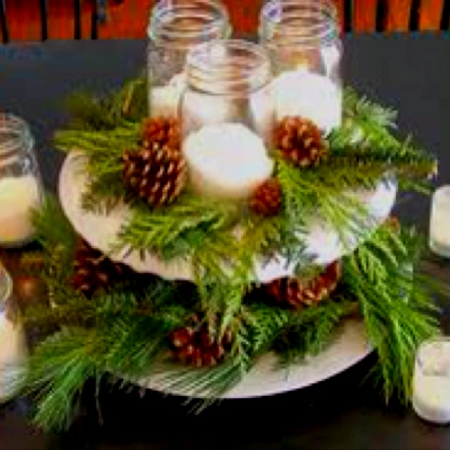 Easy winter centerpiece our cabin pinterest