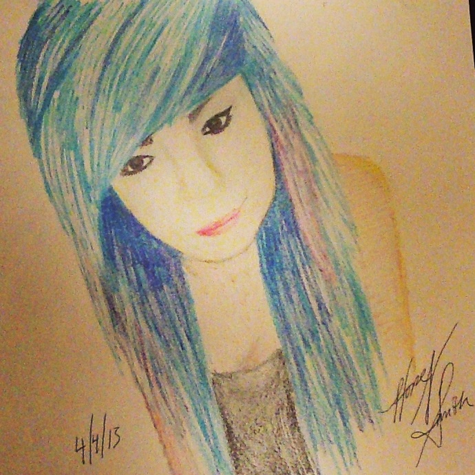 drawing of emo girl colored