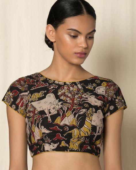 Buy Multicoloured Indie Picks Kalamkari Print Cotton Blouse   AJIO