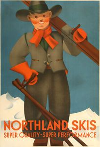 Original-Vintage-Ski-Poster-Northland-Skis-by-Pallhuber-c1935-American-Skiing