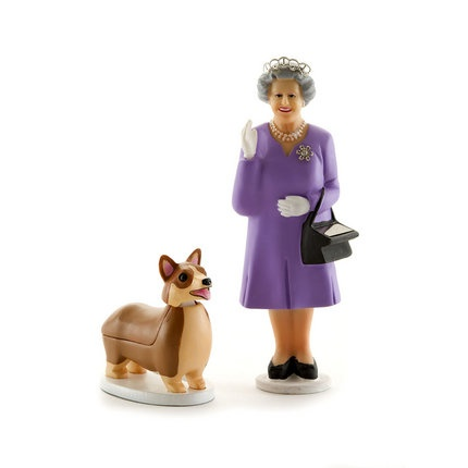 Solar Powered Queen and Corgi  Back at Pedlars in honour of HM's Diamond Jubilee. The Queen's wave is powered by the solar panel in her handbag and the corgi nods -again powered by solar power- in agreement.