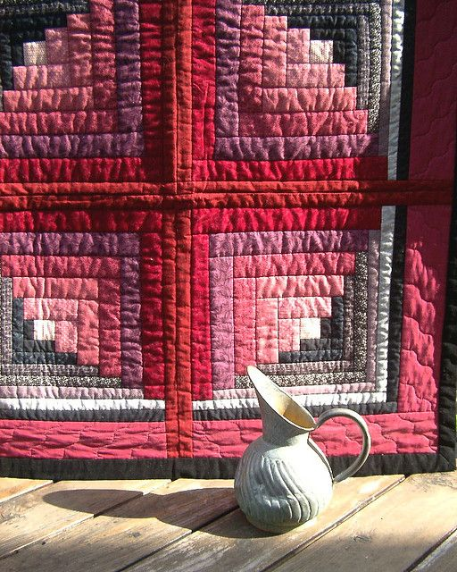 Log Cabin quilt by camp_sharyn, via Flickr; love how the difference in widths of