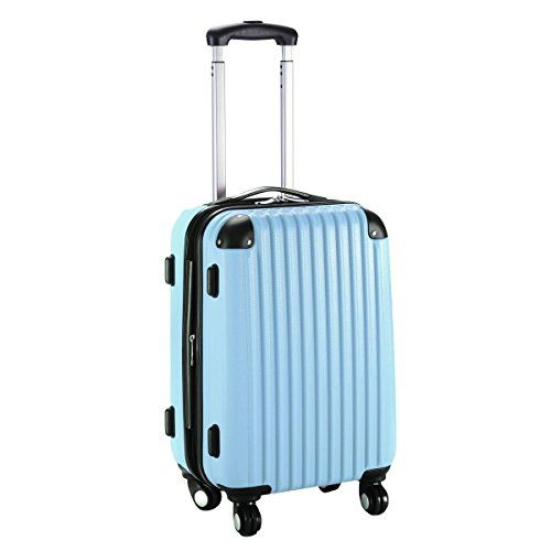 Goplus New GLOBALWAY 20″ Expandable ABS Carry On Luggage Travel Bag Trolley Suitcase (Light Blue)