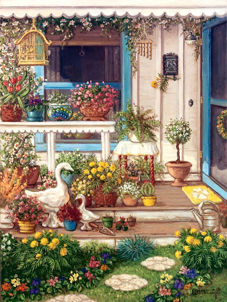 Spring Front Porch, an original oil painting and a giclee , personally enhanced and by the artist Janet Kruskamp showing the front door, window and open porch. Round, off-white paving stones with a rosette pattern lead up to the two steps of the porch, bordered on either side with brightly colored flowers. A white wooden table sits in front of the front window holding bright vases filled with blooming flowers. A wooden bird cage swings from the overhead eave and statuary of a swan mother and…