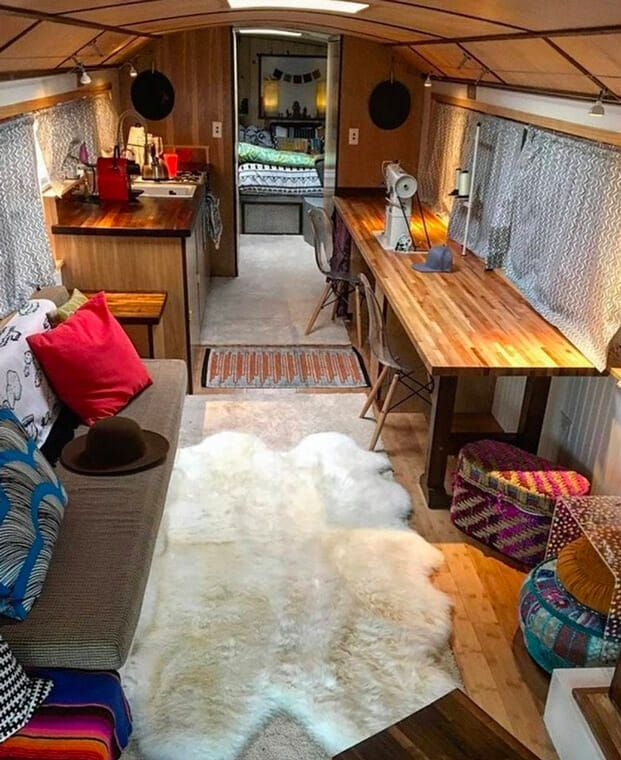 A bus conversion with a sewing studio and mobile home inside! This Small Rv Mobile Homes Inside on rv storage inside, rv campers inside, rv trailers inside, rv rentals inside, rv houses inside, rv with car inside, rv motorhomes inside, rv camping inside,
