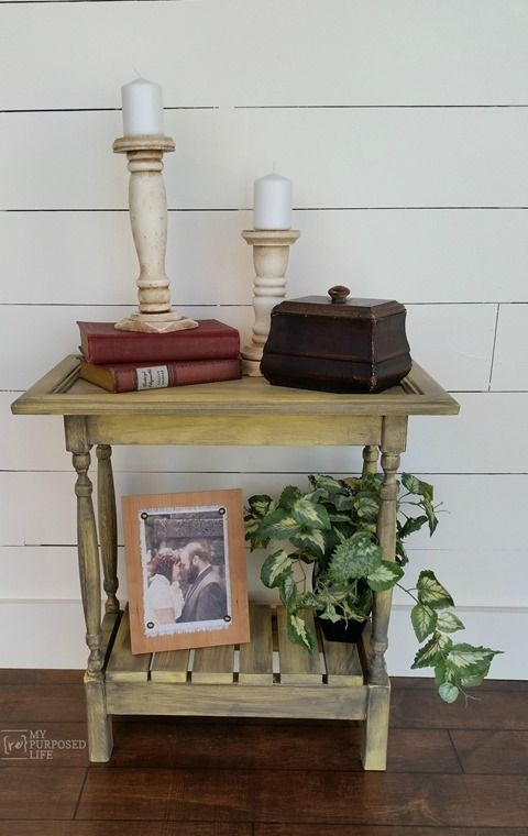 How to make a  small cabinet door table using an old cabinet door and some thrift store spindles. Easy tutorial for you to follow.