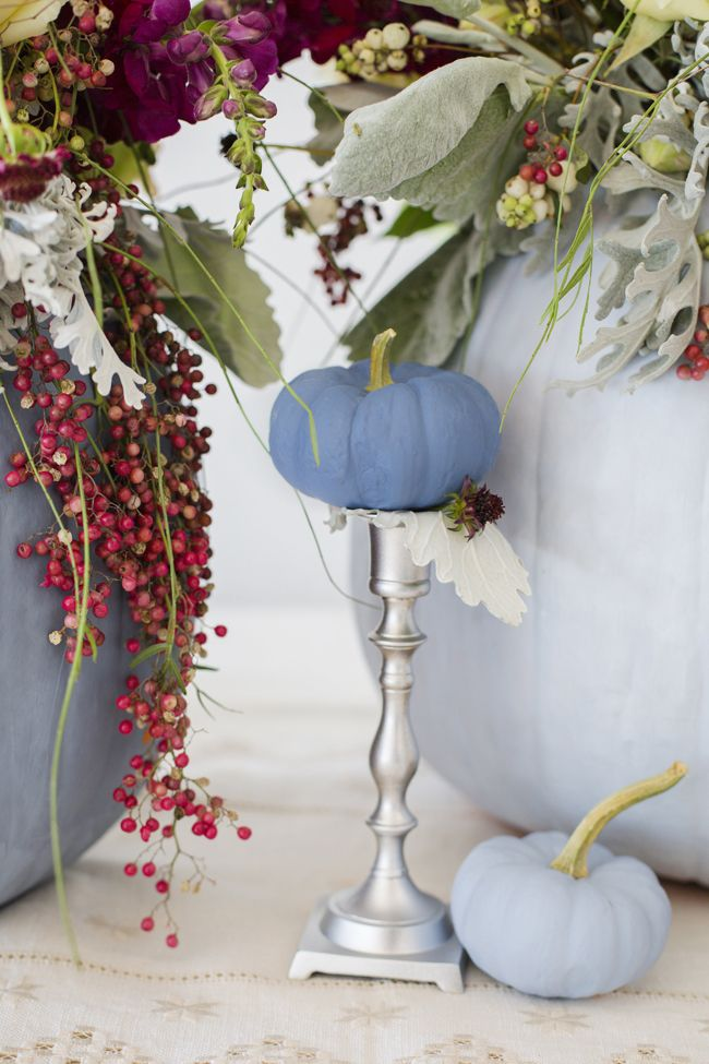Dusty blue and cranberry fall decor -  http://fabyoubliss.com/2014/10/23/dusty-blue-and-cranberry-fall-decor