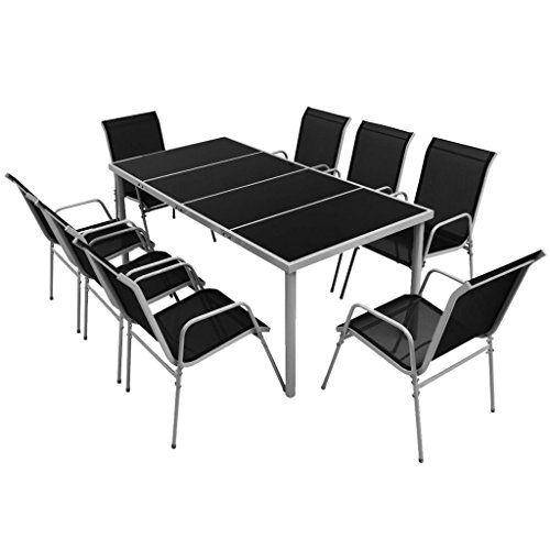 Vidaxl Salle à Manger Dextérieur 9 Pcs Noir Mobilier De Jardin