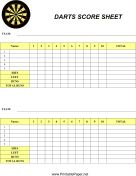 Darts Score Sheet paper - printable pdf templates for a range of games like darts, canasta, car games and sports