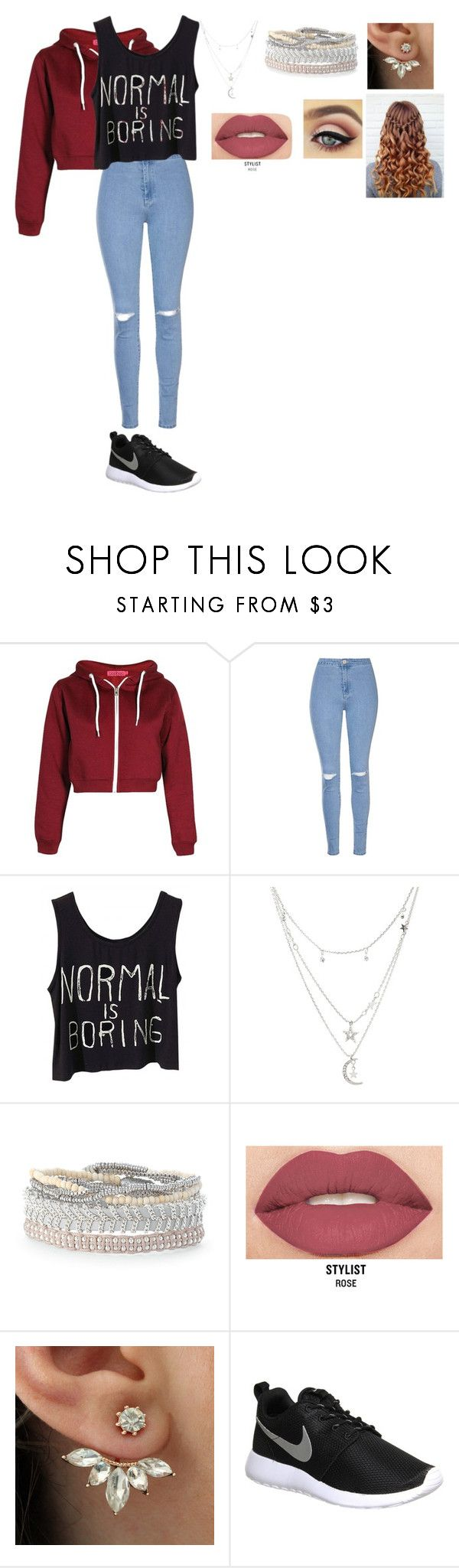 """Movie date outfit"" by zeemut02 on Polyvore featuring Glamorous, Charlotte Russe, Stella & Dot, Smashbox and NIKE"