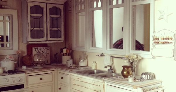 shabby cottage over cabinet vignettes | on the shelf above the kitchen windows 1:12 scale shabby cottage ...