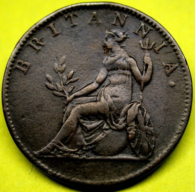 1819 IONIAN ISLANDS 2 Lepta Winged Lion & Britannica RARE BRITISH COLONIAL Coin