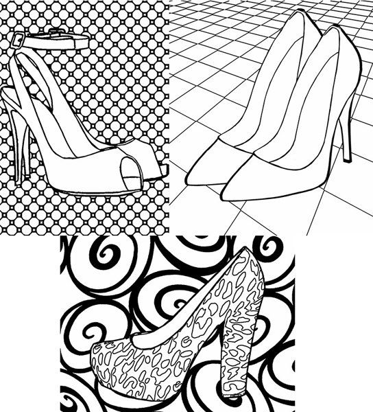 high heel shoes adult coloring pages by