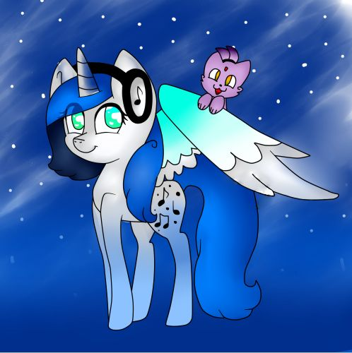 My first picture! Blue, my OC from MLP. On the wing you can see a small cat Blaze from Sonic! This sweet is not it?